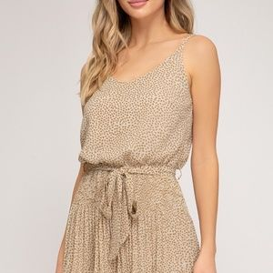 Pants & Jumpsuits - PRINTED WOVEN CAMI ROMPER WITH PLEATED SHORTS DETA